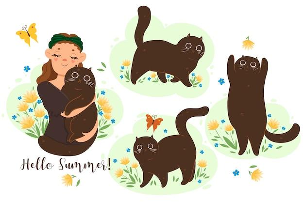 Set di simpatici gatti estivi. Vettore Premium