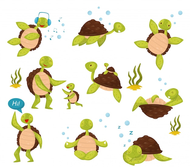Set di tartarughe carine in diverse azioni nuotare, ascoltare musica, rilassarsi, dire ciao, meditare nella posizione del loto Vettore Premium
