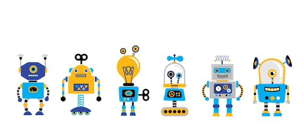Set di simpatici robot vintage Vettore Premium