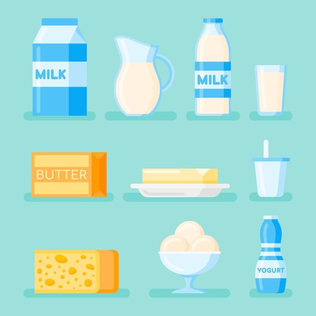 Set di icona di stile piano di prodotti lattiero-caseari. latte, formaggio, burro, yogurt e gelato. Vettore Premium