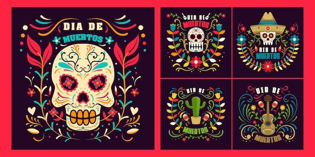 Impostare il giorno dei morti in messico, modello di vacanza dia de los muertos Vettore Premium