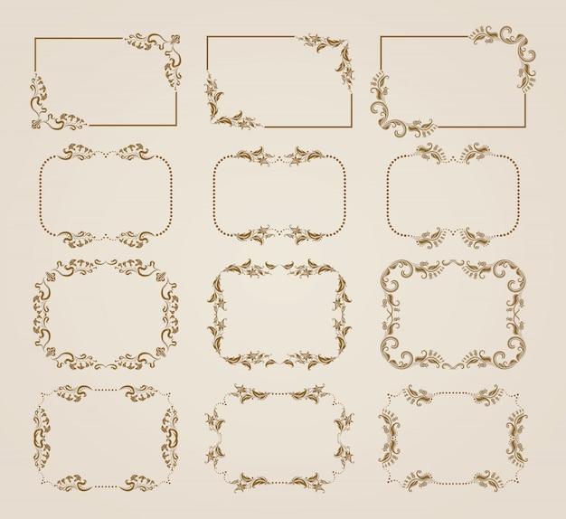 Set di cornici floreali decorativi. Vettore Premium