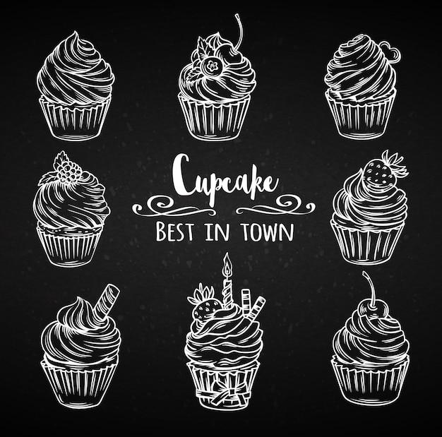 Impostare cupcakes decorativi disegnati a mano. Vettore Premium