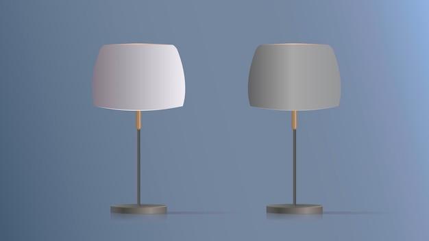 Set di lampade da tavolo decorative. modello originale con paralume in seta e gamba in metallo. per soggiorno, camera da letto, studio e ufficio. illustrazione Vettore Premium