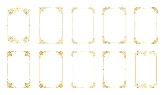 Set di cornici e bordi decorativi vintage Vettore Premium