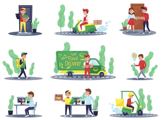 Insieme di addetti alla consegna e clienti. corriere in sella a scooter. guy che tiene la borsa con ordine. servizio di ristorazione Vettore Premium