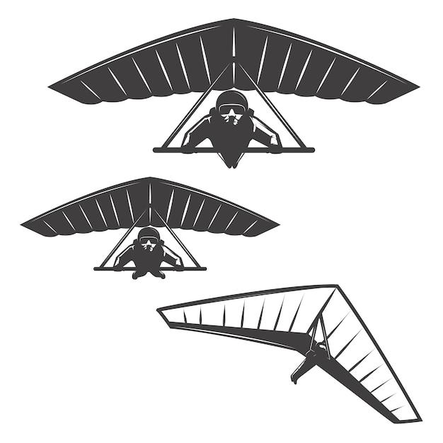 Set di icone deltaplan su sfondo bianco. elementi per logo, etichetta, emblema, segno, marchio, poster. Vettore Premium
