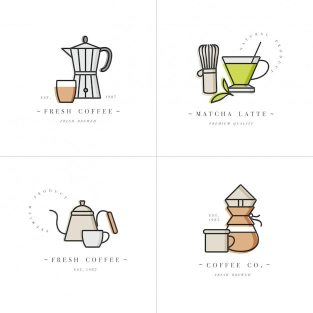 Scenografia loghi colorati modelli ed emblemi - caffetteria e caffetteria. icona cibo. etichette in stile lineare alla moda isolato su sfondo bianco. Vettore Premium