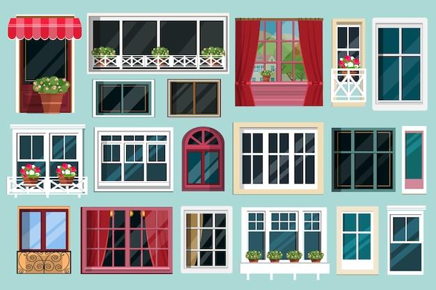 Set di dettagliate varie finestre colorate con davanzali, tende, fiori, balconi. Vettore Premium