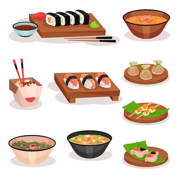Set di diversi piatti asiatici. sushi, ciotole con zuppe e noodle, gnocchi di gamberi e palline di riso. tema alimentare Vettore Premium