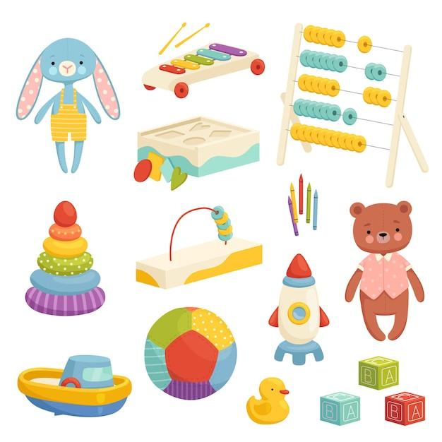 Set di diversi giocattoli per bambini luminosi. inventario per giochi e intrattenimento per bambini. giocattoli sportivi, di peluche, musicali e logici. isolato su sfondo bianco. Vettore Premium