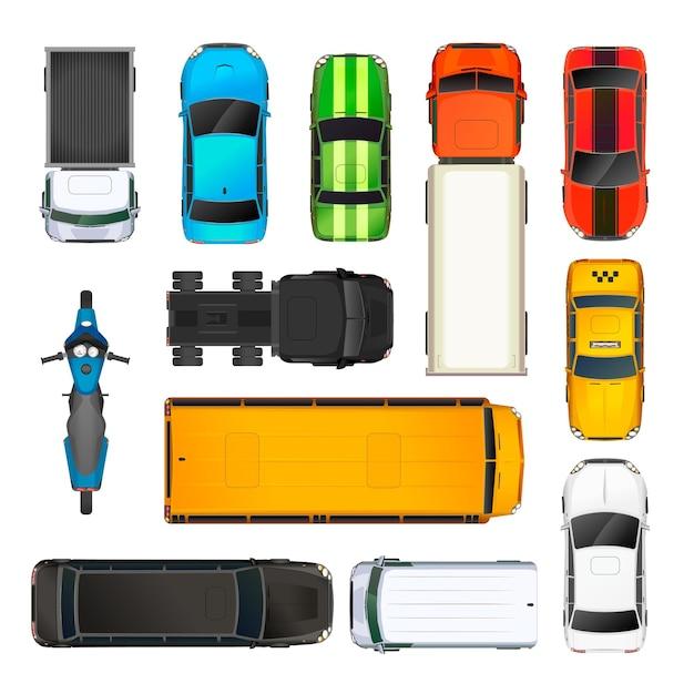 Set di diverse vetture vista dall'alto, isolato su bianco Vettore Premium