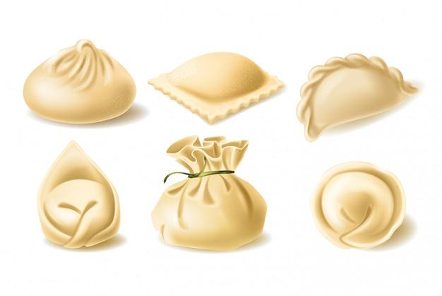 Set di diversi gnocchi, pelmeni, wonton, tortellini, khinkali, manti, ravioli Vettore Premium
