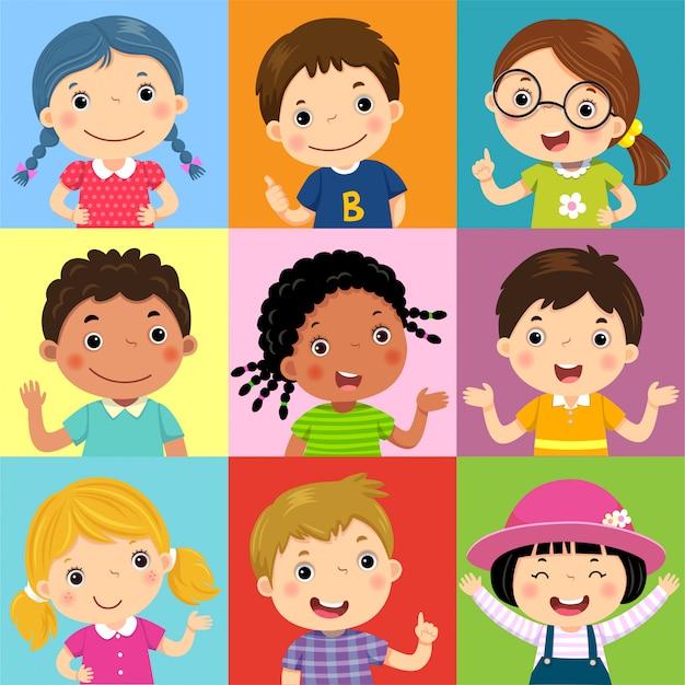 Set di bambini diversi con varie posture Vettore Premium