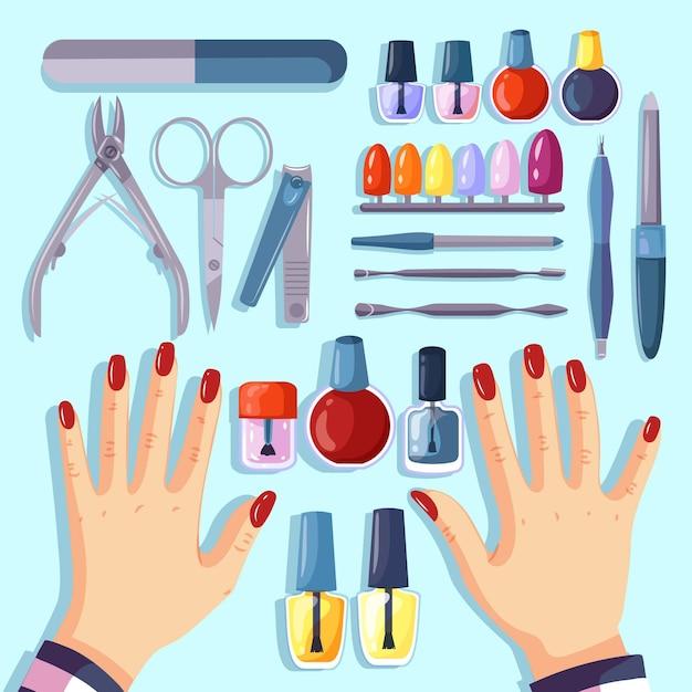 Set di diversi strumenti per manicure Vettore Premium