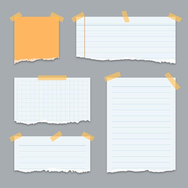 Set di carte strappate di forme diverse con nastro adesivo Vettore Premium