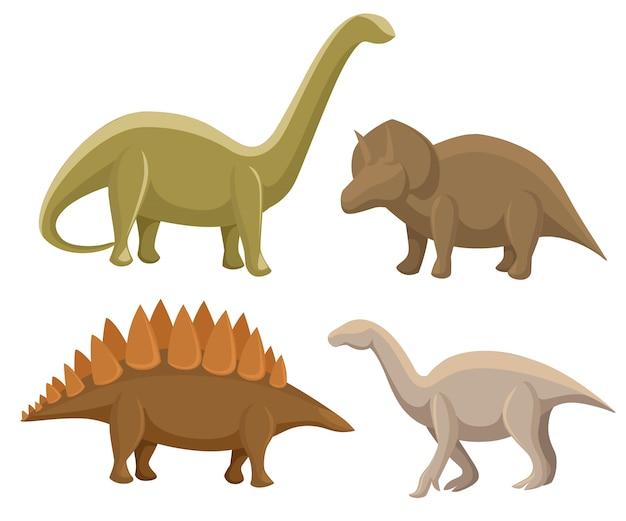Set di dinosauri. stegosaurus, triceratopo, iguanodon, diplodocus. illustrazione su bianco. set colorato di fantasia simpatici mostri, animali e personaggio preistorico Vettore Premium