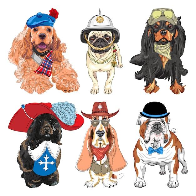 Set di cani cavalier king charles spaniel, basset hound come sceriffo, bulldog inglese, cane da acqua portoghese come moschettiere, pug in elmetto britannico Vettore Premium