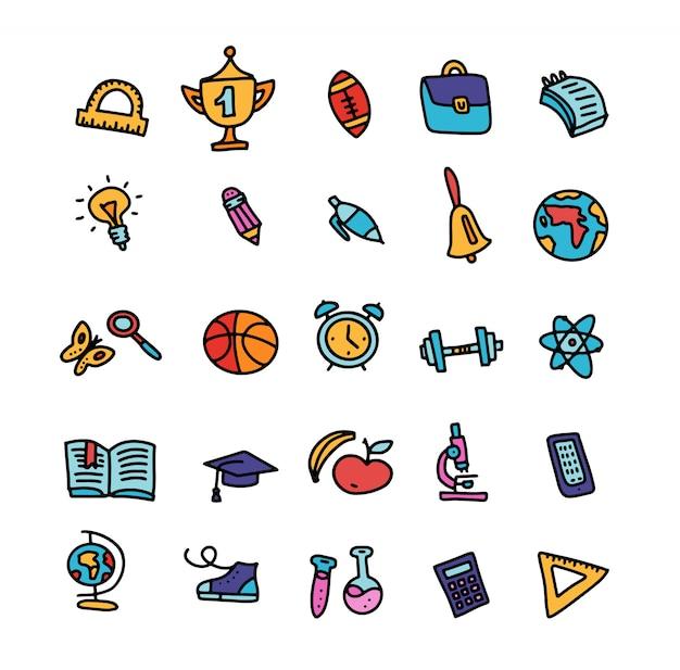 Insieme delle icone dei rifornimenti di scuola colorati scarabocchio con le linee, simboli isolati. Vettore Premium