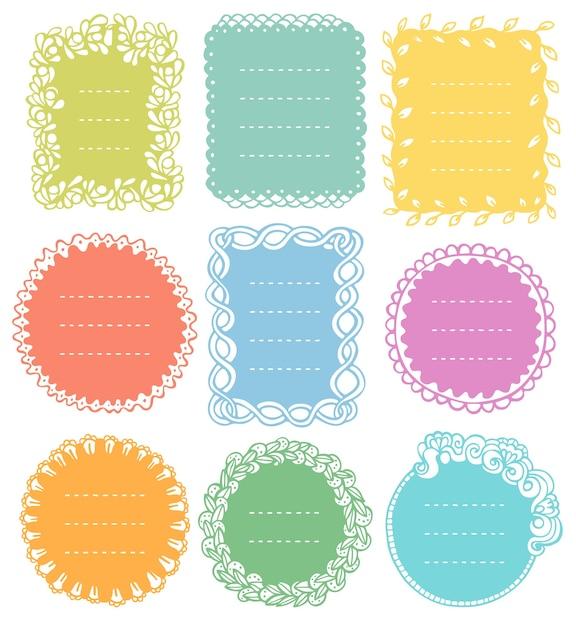 Set di cornici doodle per diario del taccuino bullet journal Vettore Premium