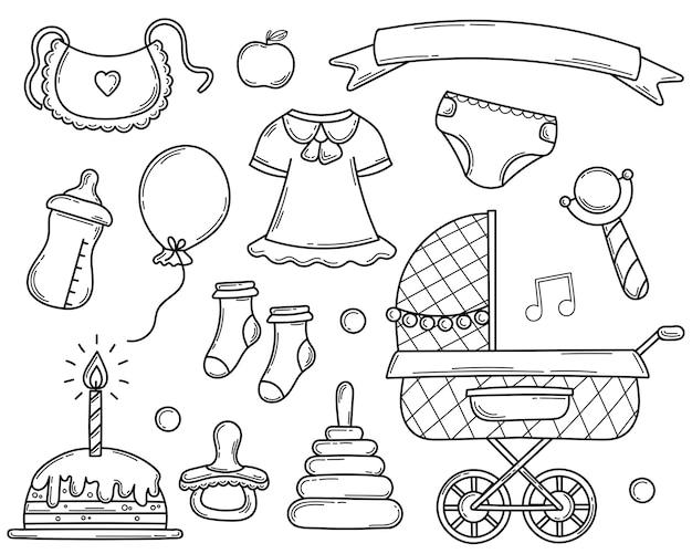 Insieme di elementi disegnati a mano di doodle per un neonato nello stile di abbozzo. Vettore Premium
