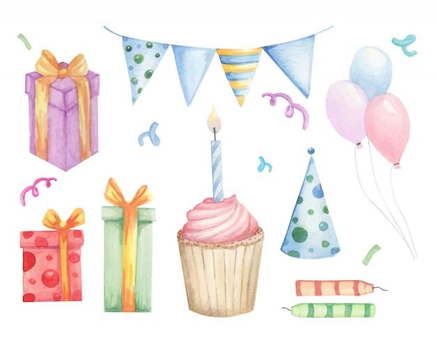 Insieme di elementi di compleanno di scarabocchi Vettore Premium