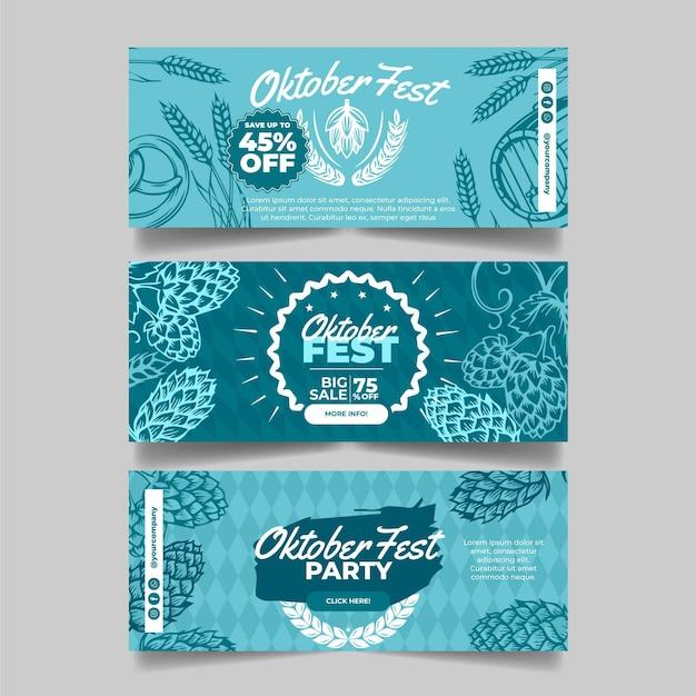 Set di banner più oktoberfest disegnati Vettore Premium