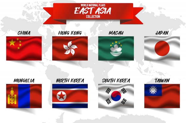 Insieme della bandiera nazionale del paese dell'asia orientale sul fondo della mappa di mondo. Vettore Premium