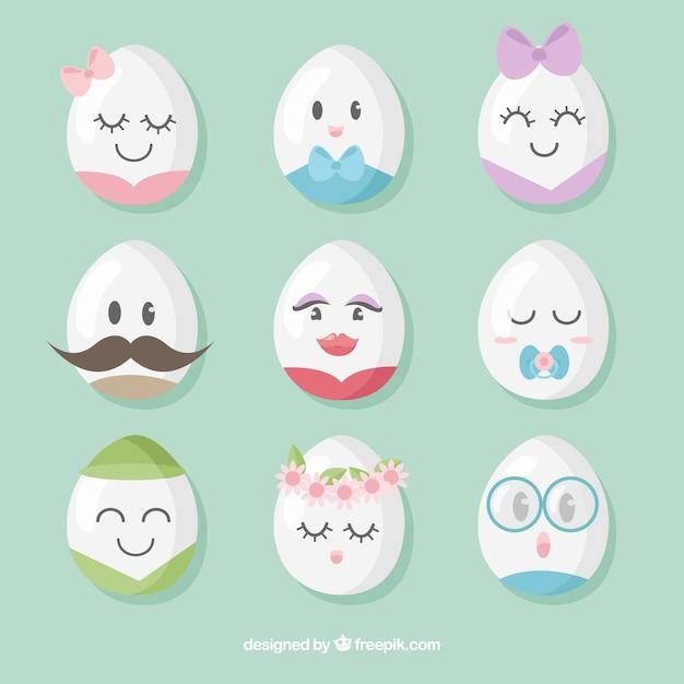 Set di uova di pasqua con facce Vettore Premium