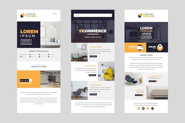 Set di modelli di email di e-commerce con foto Vettore Premium