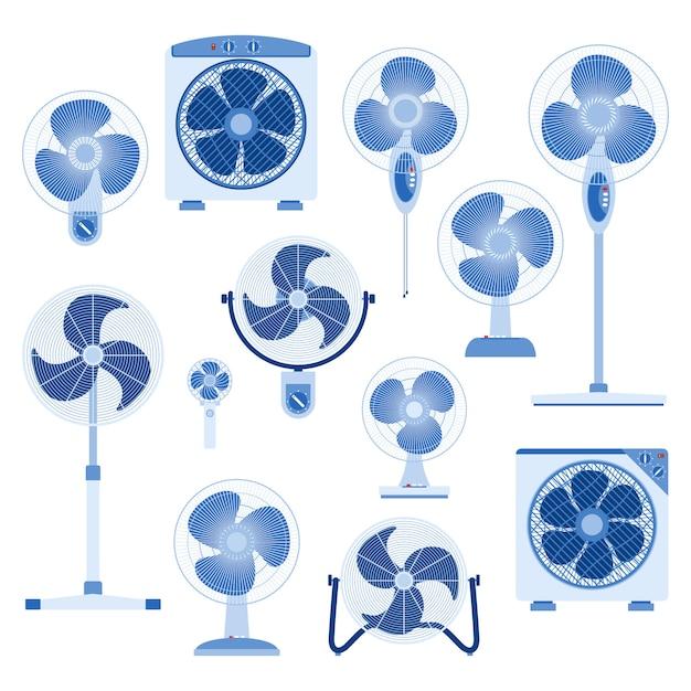Set di elettroventola in stile design piatto Vettore Premium