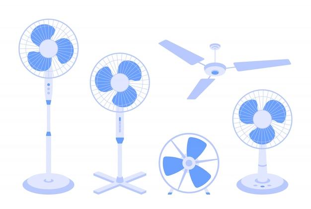 Set di ventilatori elettrici di vario tipo isolato su sfondo bianco. pacchetto o raccolta di dispositivi domestici per raffreddamento e condizionamento dell'aria, controllo del clima. Vettore Premium