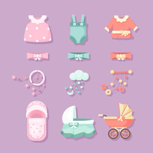 Set di elementi per baby shower Vettore Premium