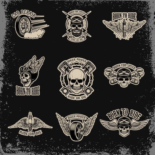 Set di emblemi per biker club. riparazione auto. per logo, etichetta, segno, distintivo. illustrazione Vettore Premium