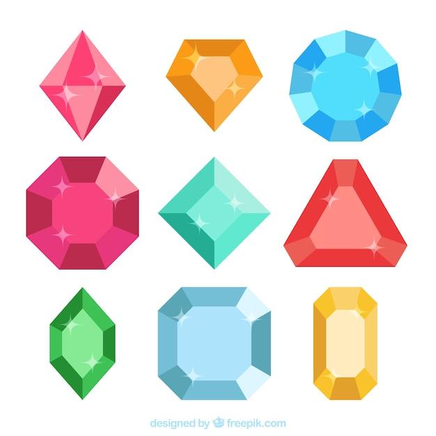 Set di smeraldi e diamanti colorati Vettore Premium