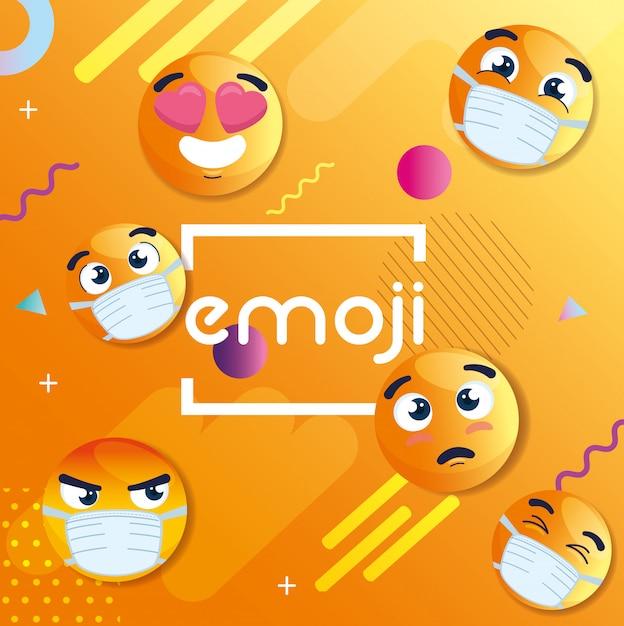 Set di emoji indossando maschere mediche, icone per coronavirus in fondo astratto geometrico Vettore Premium