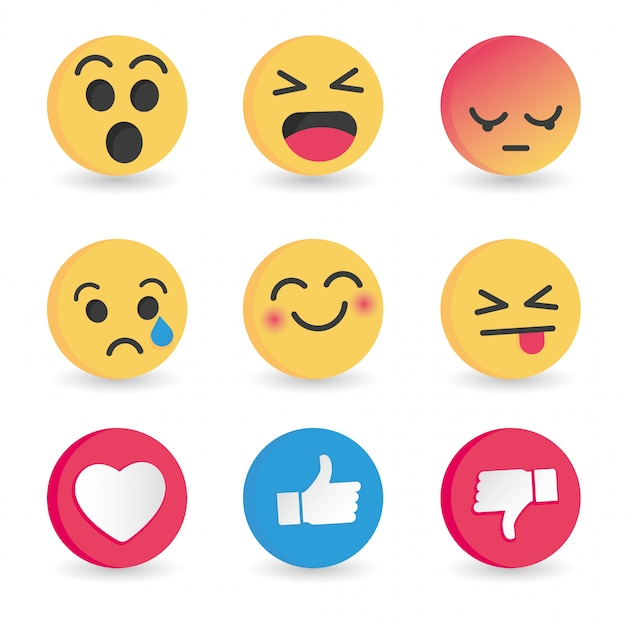 Set di emoticon reazioni dei social media Vettore Premium