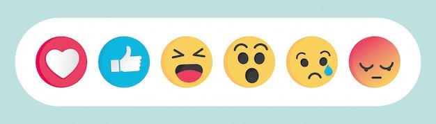 Set di emoticon reazioni dei social media Vettore Premium