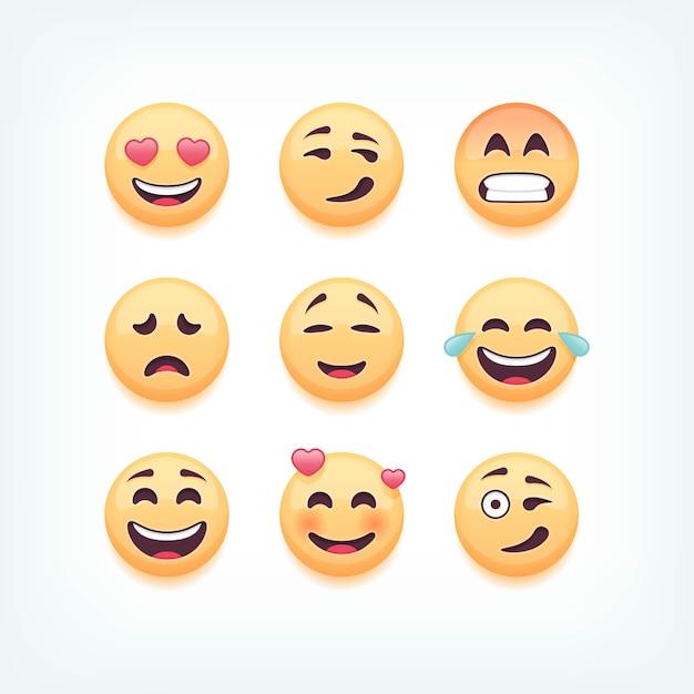 Set di emoticon, emoji su sfondo bianco, illustrazione. Vettore Premium