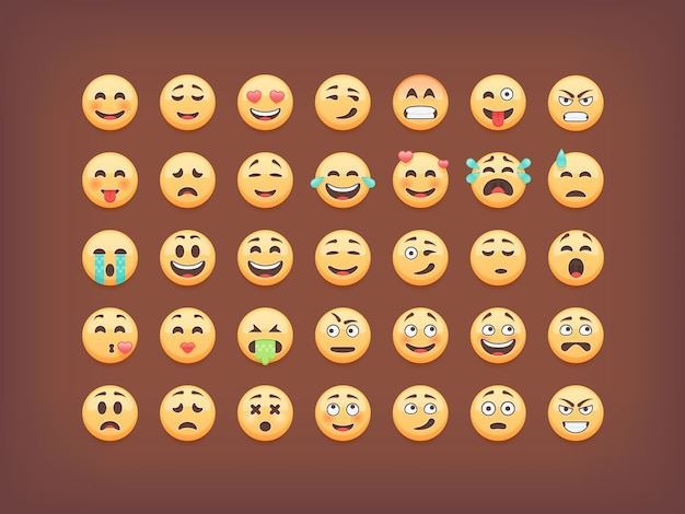 Set di emoticon, icon pack smiley, emoji su sfondo marrone, illustrazione. Vettore Premium