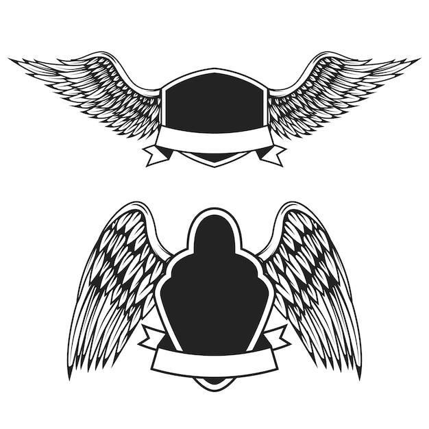 Set di emblemi vuoti con le ali. elementi per logo, etichetta, badge, segno. illustrazione Vettore Premium