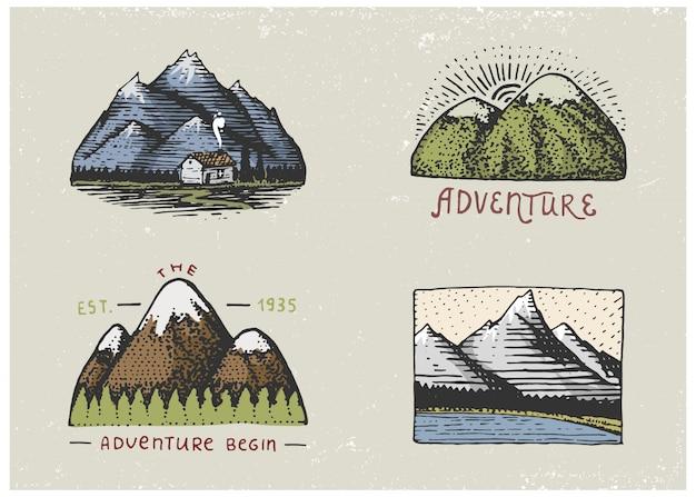 Set di incisioni vintage, disegnati a mano, vecchi, etichette o badge per campeggio, trekking, caccia con picchi di montagna, da sud a nord Vettore Premium