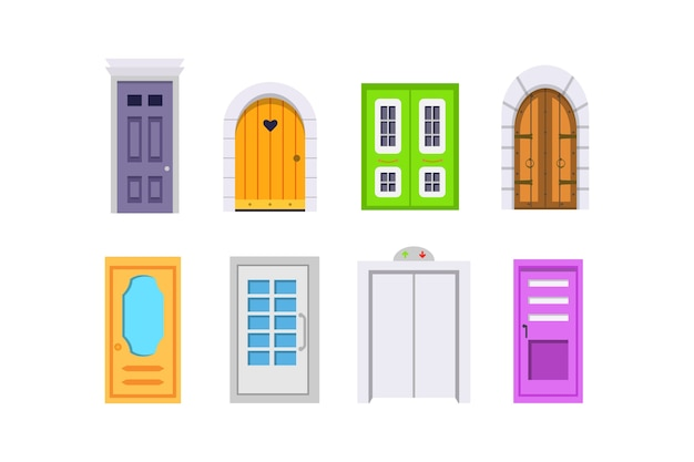 Impostare la vista frontale della porta d'ingresso. elemento case ed edifici. Vettore Premium