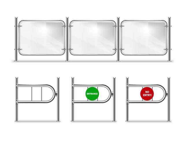 Set di cancello d'ingresso con freccia verde e segnale di stop rosso, tornelli per il negozio e balaustra in vetro con corrimano in metallo. Vettore Premium