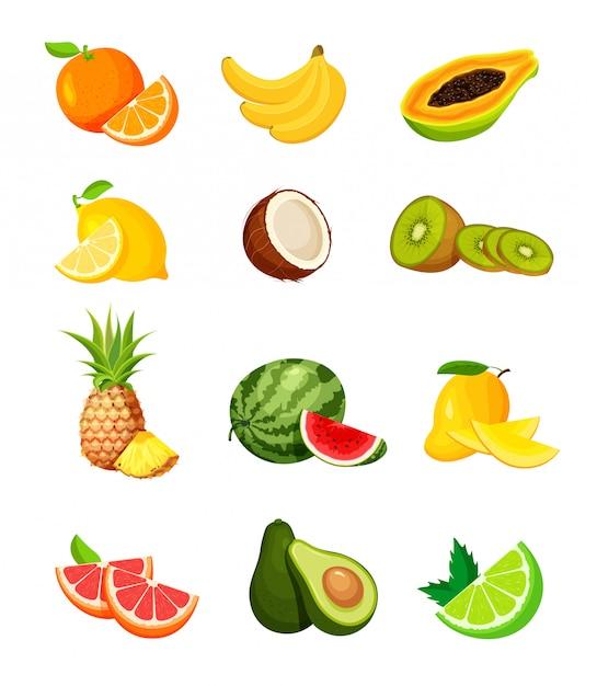 Insieme di frutti tropicali esotici in uno stile piatto alla moda. icone dell'alimento del vegano isolate su priorità bassa bianca. fresco intero, metà, taglio fetta e pezzo di frutta. Vettore Premium
