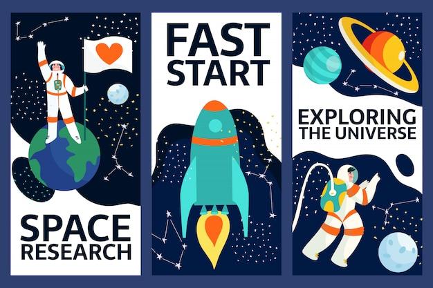 Set di esplorare lo spazio banner .spaceman nello spazio esterno con stelle, luna, rucola, asteroidi, costellazione sullo sfondo. astronauta fuori dall'astronave che esplora l'universo e la galassia. Vettore Premium