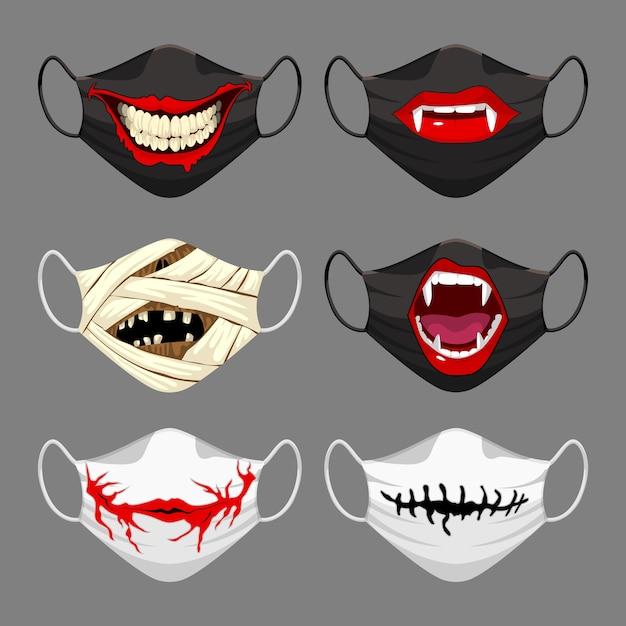 Set di maschera facciale in tessuto. maschera per il viso di halloween Vettore Premium