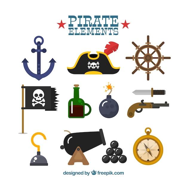 Set di fantastici elementi pirata in design piatto Vettore Premium