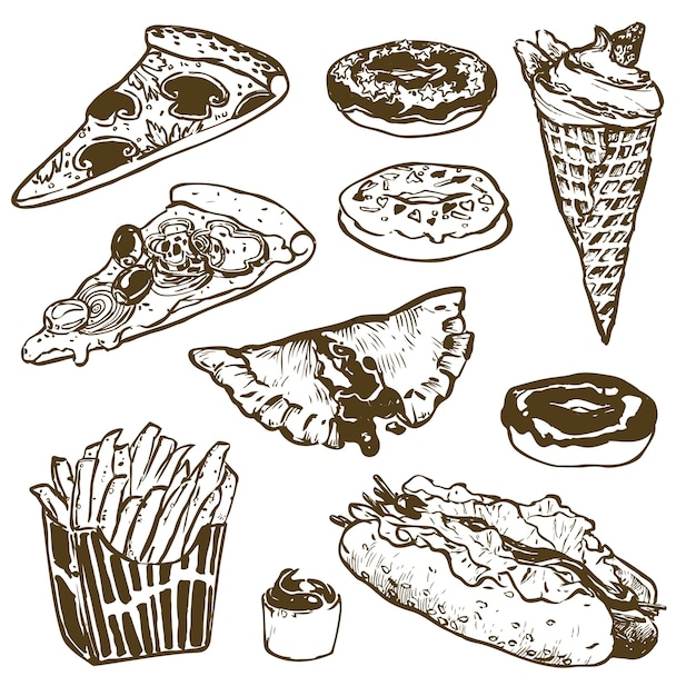 Set di fast food. hamburger, ciambella, gelato, hot dog, patatine fritte, pizza. illustrazione per prodotti menu, ricette e pacchetti Vettore Premium