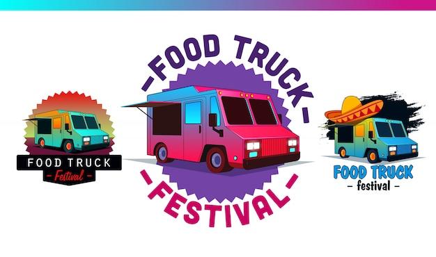 Imposta etichette e distintivi per fast food. logotipo di camion di cibo ed elementi vettoriali, insegne, segno, identità. illustrazioni e grafiche di street food. Vettore Premium